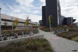 Campus is a pedestrian zone. No cars or bicycles are permitted in the inner zone of the whole area. You can find parking facilities for 998 bicycles.